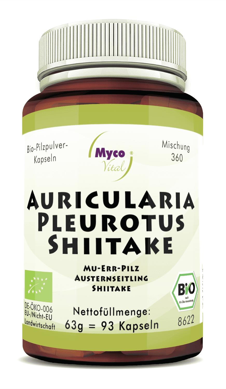 Bio Auricularia-Pleurotus-Shiitake  93 Kapseln - DE-ÖKO-007