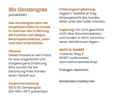 wohl & wedel Bio Gerstengras pulverisiert 200  g - DE-ÖKO-007
