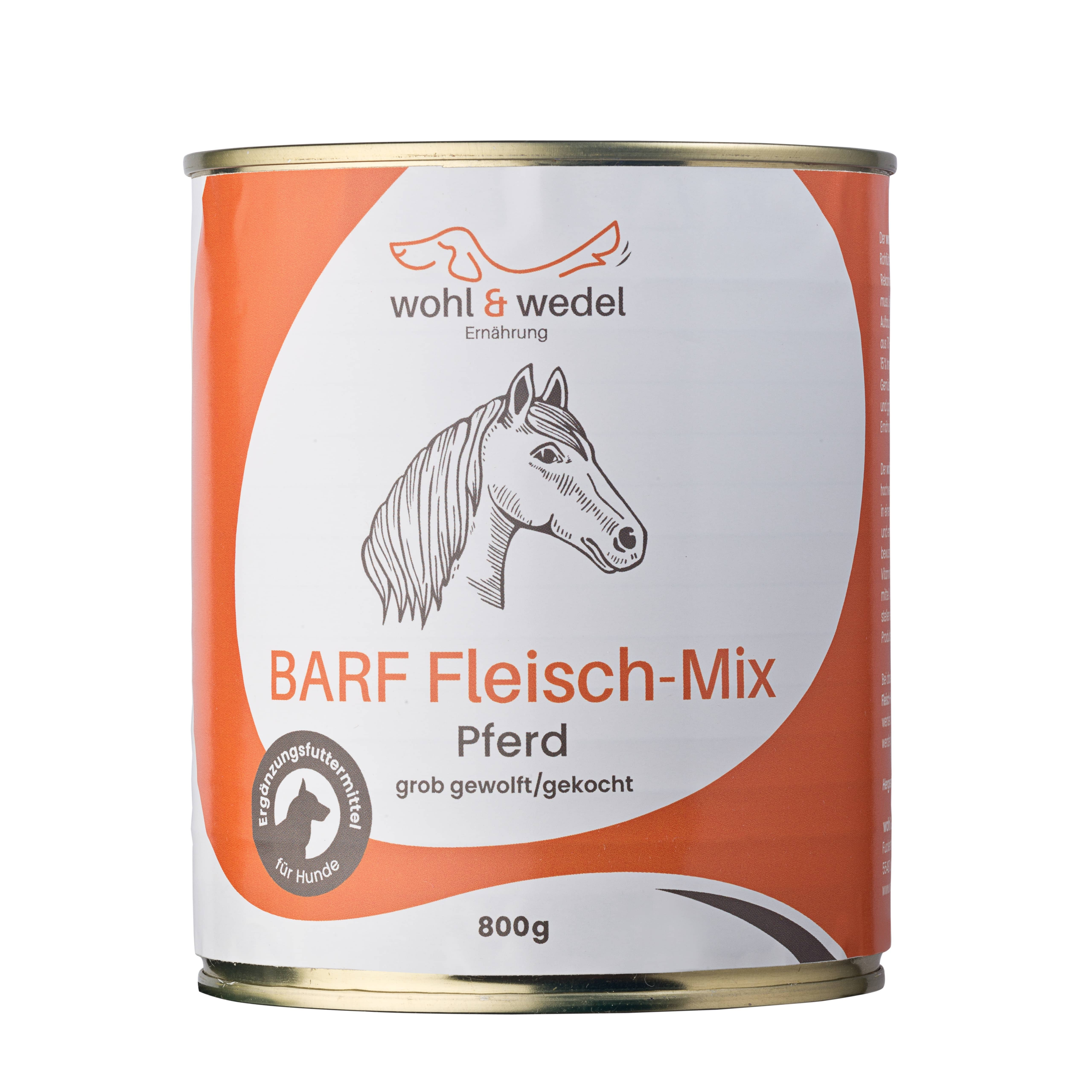 12 x wohl & wedel BARF Fleisch-Mix Pferd 800 g