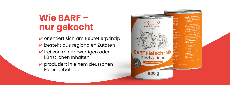 wohl & wedel BARF Fleisch-Mix Rind/Huhn 800 g