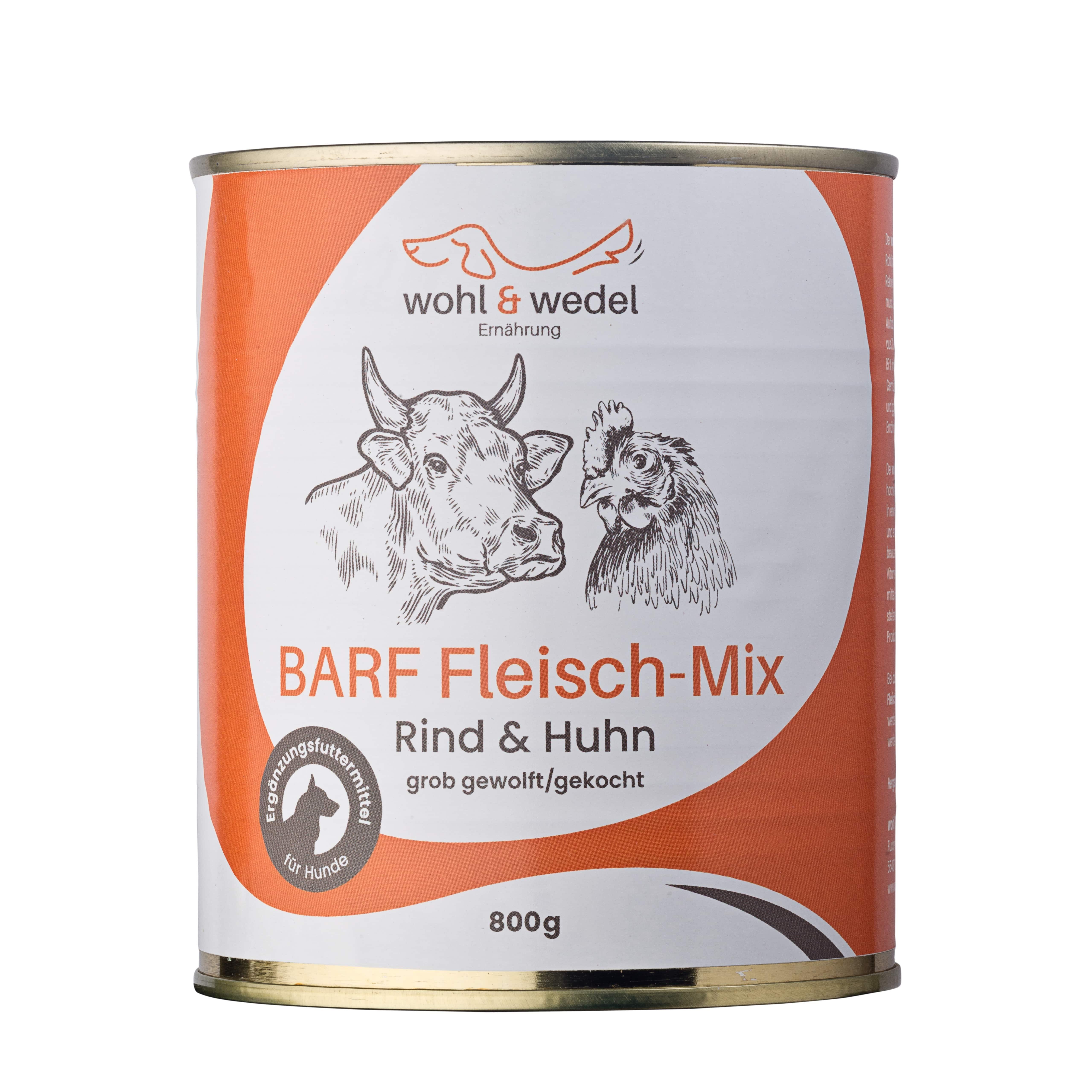 12 x wohl & wedel BARF Fleisch-Mix Rind/Huhn 800 g